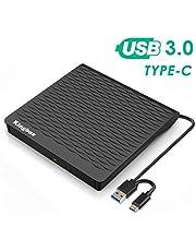 External DVD/CD Drive,KingBox Ultra-thin USB 3.0 and Type-C Interface ,High Speed Data Transfer USB Optical Drives for Windows XP / 2003 / Vista / 7 / 8.1 / 10, Linux, Mac OS(black)