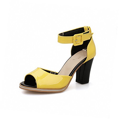 WeenFashion Women's Patent Leather Peep Toe High Heels Solid Sandals, Yellow, 41