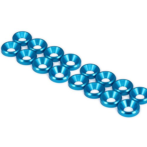 20PCS M5 Flat Head Washer Gasket Countersunk Alloy Aluminum for RC Car Buggy Truck (Blue)