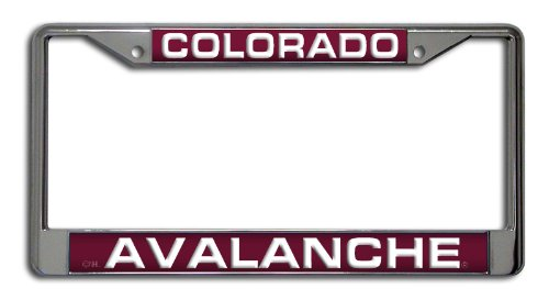Rico Industries NHL Colorado Avalanche Laser Cut Inlaid Standard Chrome License Plate Frame
