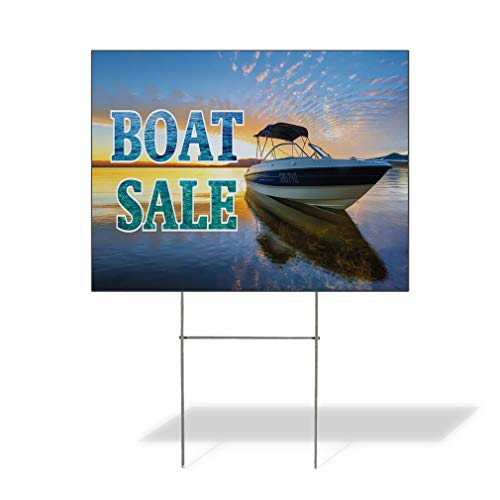 Plastic Weatherproof Yard Sign Boat Sale Business Style T Boat Sale Boat Sale Signage Blue Boat Sale for Sale Sign Multiple Quantities Available 18inx12in One Side Print One Sign (Boat T Tops For Sale In Florida)