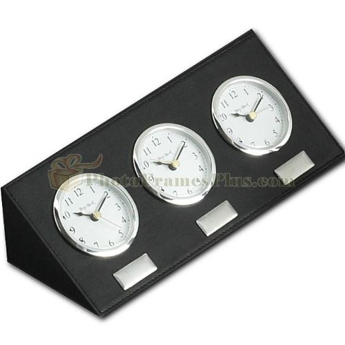 Amazoncom Black Leather Three Time Zone Clock Home Kitchen