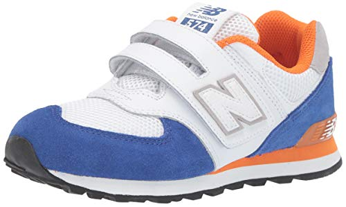New Balance Boys' Iconic 574 V1 Hook and Loop Running Shoe, Team Royal/Varsity Orange, 4 M US Big Kid