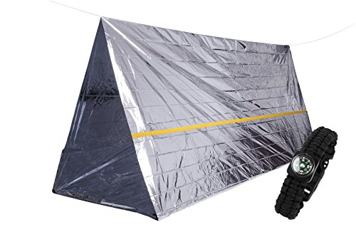 Cheap Emergency Survival Mylar Tent for 2 Person Cold Weather Thermal Reflective Shelter- 8' X 7' All Weather Tube Tent – Lightweight & Compact – Includes 1 Piece of Survival Paracord Bracelet