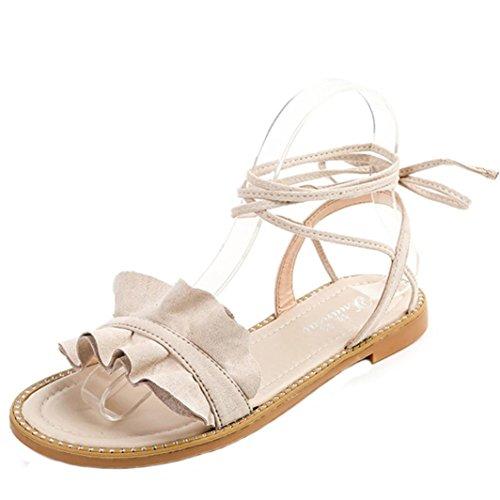 FEITONG Sandalias Mujer Nuevo Caliente Moda Verano Oficina Tacón bajo Casual Lace-Up Zapatos Blanco