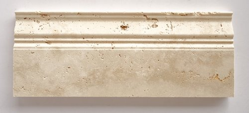 Ivory - Light Travertine Honed 5 X 12 Baseboard Trim Molding - STANDARD QUALITY - Lot of 20 Pcs.