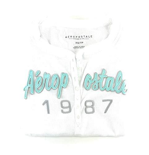 Aeropostale Womens Long Sleeve Henley Shirt White Medium ()