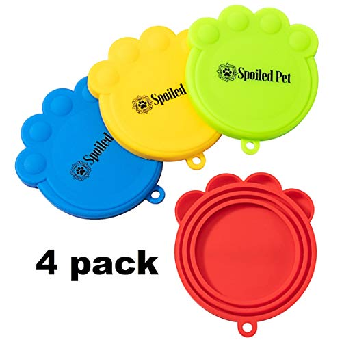 Pet Food Can Lids – Silicone Covers for Cat and Dog Pet Food Storage – 4 Pack – Universal Fitting Tops for All Standard…