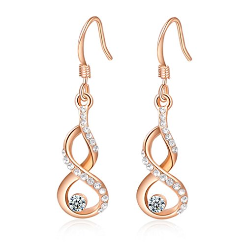 Price comparison product image Duo La Unique DNA-shape 18K Rose Gold Plated Cubic Zirconia Luxury Lady Dangle Earrings