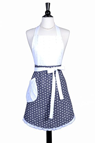 Blossom Womens Retro Apron White Triangles on Grey with Eyelet Bodice Exclusive Hostess Design