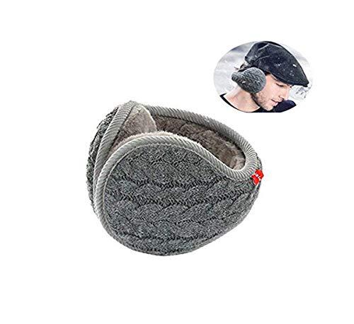 YIXIA Earmuffs Warm - Unisex Foldable Knit Cashmere Plush-Lined Earmuffs Winter Earmuffs for Men & Women (Gray)