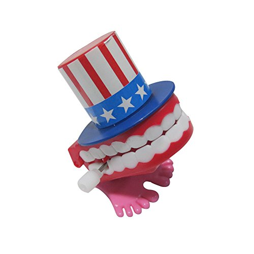 Kiorc 7cm American Flag Wind-up Walking Babbling Teeth Denture Chattering Funny Teeth