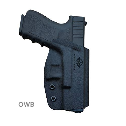 Glock 19 Holster OWB Kydex For Glock 19 19x / Glock 23 25 32 45 / Glock 17 22 31 / Glock 26 27 33 30s (Gen 3 4 5) CZ P10 Pistol Case Waistband Outside Carry 1.5'-2' Belt Clip - Black, Right Hand Draw