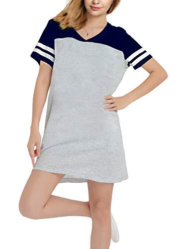 (Nightshirts for Women Plus Szie Scoop Neck Sleep Tee Nightshirt Blue&Grey Medium)
