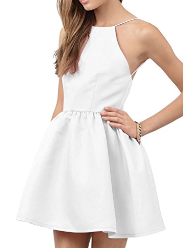 Prom Homecoming Halter Backless DYS Short Cocktail Party White Dresses Women's Dress qxaHw1ZE