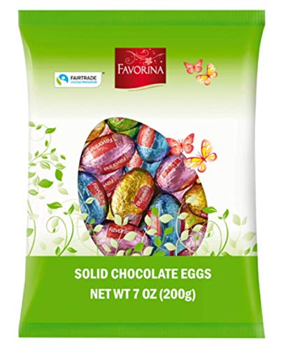 Favorina Chocolate Easter Eggs - Easter Candy Solid Premium Milk Chocolate Eggs Foiled in a Variety of Colors - Traditional Easter Basket Stuffer Made in Germany