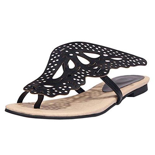 TAOFFEN Black Sandales Clip Toe Plates Femmes qwBCTqr