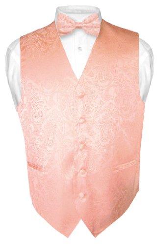 Men's Paisley Design Dress Vest & Bow Tie Peach Color Bowtie Set sz Medium ()