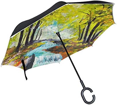 rodde Winddichte Regenschirme mit C-förmiger Griffkappe für Rain Outdoor Reverse Double Layer Inverted Green Leaves River