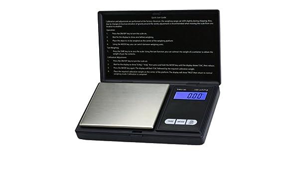Báscula digital de precisión de bolsillo - Peso máximo: 100 g/Granularidad: 0,01 g - Color Negro by CASCACAVELLE: Amazon.es: Hogar
