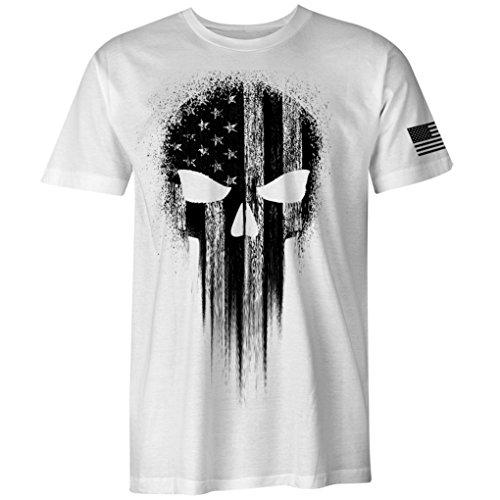 USA Military American Flag Black Skull Patriotic Men's T Shirt (White, L) (Black And White American Flag T Shirt)