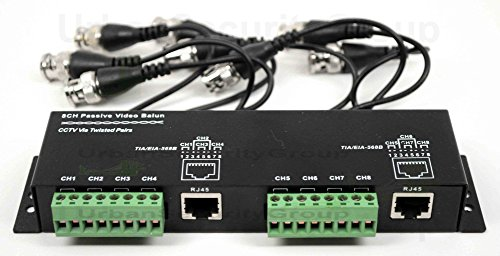 USG Premium 8 Channel CCTV Balun : 6 Extensions : BNC Male + 2 Pin Solid Screw Terminals + RJ45 Jacks : Video Over UTP Ethernet Network Cable : Premium Model : Passive Transceiver : Up to 3,000 Feet