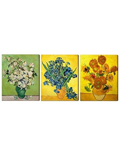 Rose Art Print Poster - DecorArts - Triptych (White Roses, Irises Vase Flower, Sunflowers) , Vincent Van Gogh Art Reproduction. Giclee Canvas Prints Wall Art for Home Decor 30x24