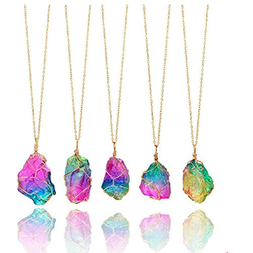(firstfly Rainbow Stone Pendant Necklace, Irregular Quartz Stone Pendant Crystal Gemstone Necklace Clothes Chain Necklace for Women (Rainbow))
