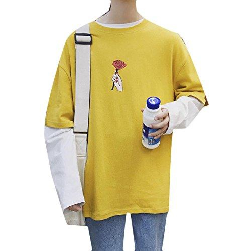 Zago Men's Bottoming Shirt Long Sleeve Fake Two All-Match Loose Leisure T Shirts Yellow XL