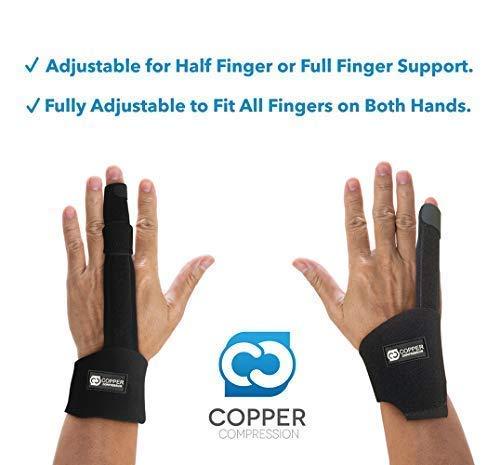 Copper Compression Finger Splint - Medical Grade Aluminum Brace Support Guard Splints for Straightening Broken Fingers, Injuries, Arthritis, Trigger Finger. Adjustable Knuckle Immobilizer Braces