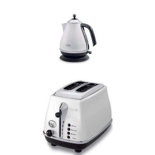 DeLonghi Icona Collection 1.7L Electric Kettle and 2 Slice Toaster, White
