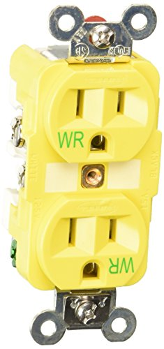 Hubbell Wiring Systems HBL52CM62 Straight Blade Corrosion Resistant Duplex Receptacle, 15A, 125 VAC, Yellow ()
