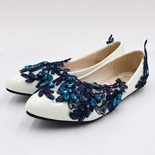 Boda Encaje Bh198 Planos Cerrado Toe Navy Nupcial Mujeres Cristal Zapatos Seraph Bailarina 0UxWpqUv