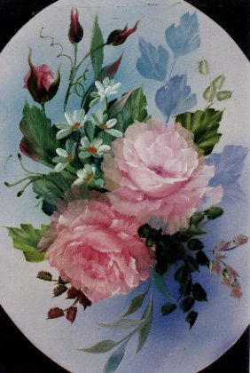 How-to Painting Packet Oval Pink Roses