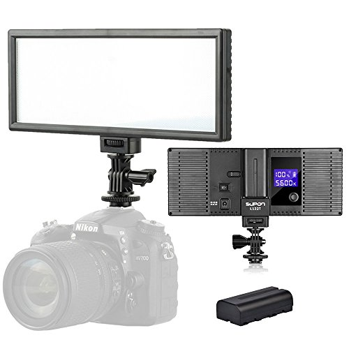 UPC 723610502855, SUPON LED-L132T RA CRI95 3300K-5600K LED Video Light Panel LCD display screen,Color temperature &Brightness can be adjusted for Canon Nikon Pentax Olympus DSLR Cameras Camcorders (LED-L132T+NP-F550)