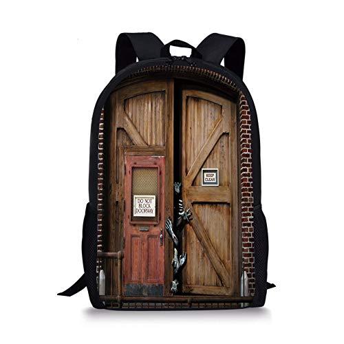 School Bags Zombie Decor,Monsters behind Wooden Door Demon Halloween Fear Fantasy Picture Decorative,Umber Chestnut Brown for Boys&Girls Mens Sport Daypack -