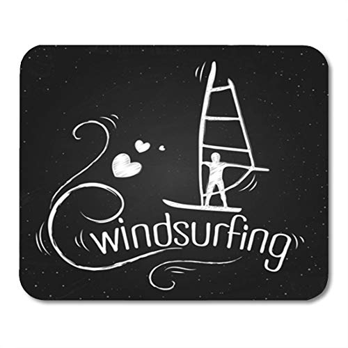 Semtomn Gaming Mouse Pad Action Creative Vintage Windsurfing and Labels Inspirational Chalkboard Active 9.5