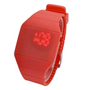 Magic Hidden Touch Screen Red LED Digital Watch Men Women Sport Cuff Wrist Watch Red