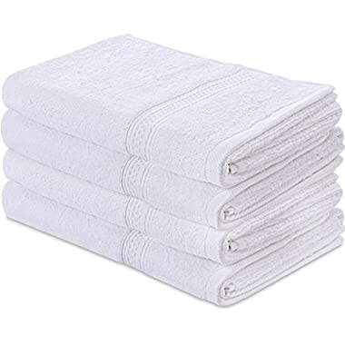 Cotton Large Hand Towels (White, 4-Pack,16 x 28 inches) - Multipurpose Use for Bath, Hand, Face, Gym and Spa- By Utopia Towels