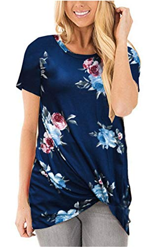 onlypuff Side Knot Shirts for Women Short Sleeve Round Neck Casual Loose Tunic Tops XL