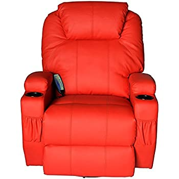 Massage Recliner Sofa Chair Pu Leather 360 Degree Rocker Swivel Massage Recliner- 8 Vibrating Nodes -Executive Heated w/Control Back (2 of Free Sea Urchin Massage Ball)