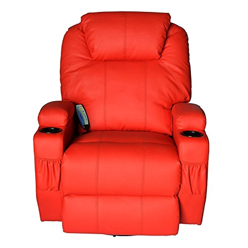 Massage Recliner Sofa Chair Pu Leather 360 Degree Rocker Swivel Massage Recliner- 8 Vibrating Nodes -Executive Heated w/ Control Back ( 2 of Free Sea Urchin Massage Ball) - Low Back Swivel Rocker