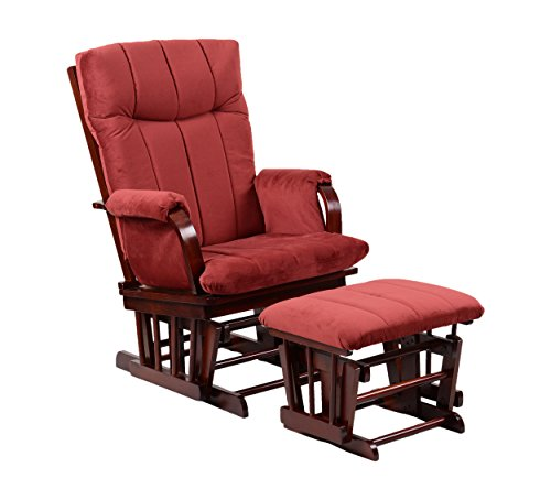 Artiva USA Home Deluxe Marsala Super Soft Microfiber Cushion Cherry Wood Glider Chair and Ottoman Set, Red ()