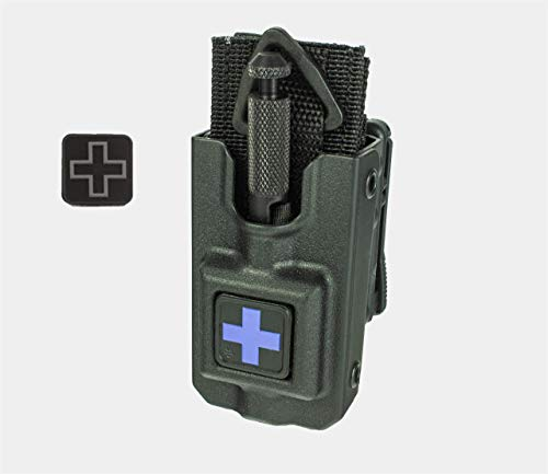 Rigid SOFTT Wide Tourniquet Case, Belt (Tek-Lok) Attachment (Tourniquet Not Included) (Black with Solid Blue Cross and Bonus Grey Cross PVC Patch)