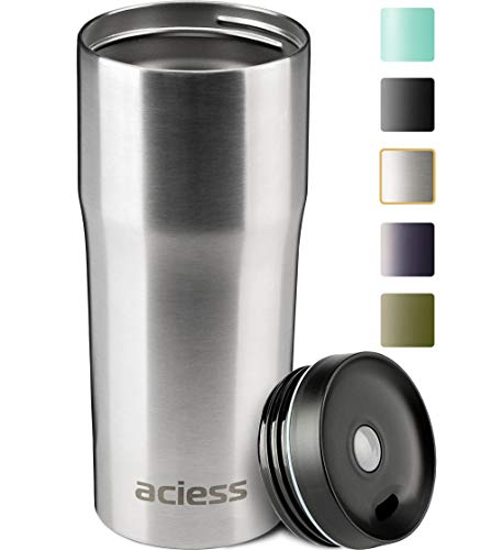 Aciess Coffee Travel Mug for Car – 16oz Insulated Coffee Cup – One Press to Open Leak – Coffee Tumbler – Leak-free Stainless Steel Tumbler for Ice and Hot Drinks – Car Coffee Cup on the Go Silver
