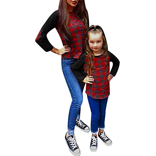 hing Sets, Mommy Baby Girls Patch Sleeves Lattice Easy Tops Loose T-Shirt Blouse ()