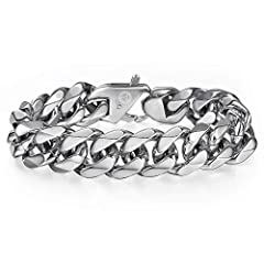Product description 316L stainless steel making this bracelet masculine yet fashionable. Why Choose Stainless Steel Jewelry ? Stainless Steel Jewelry especially with Polished finish that will not crack, peel, fade, rust, stain or corrode. Oft...