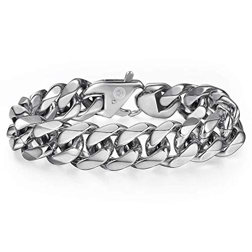 Trendsmax 316L Stainless Steel Cuban Chain Bracelet Mens Boys Silver Curb Link Chain 7 inch