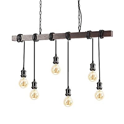 Wood Chandelier Linear Industrial Pendant Lighting Vintage Ceiling Light Fixture 6 Light for Pool Table Farmhouse Kitchen Island Bar Retro Hanging Lamp