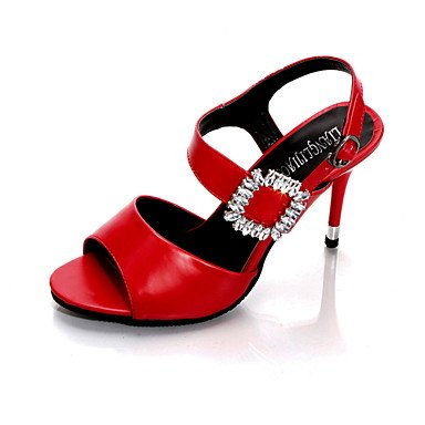 Shoes FYios Evening CN36 EU36 Spring Crystal Summer Party Stiletto Buckle US6 Women'sHeels HeelRhinestone Leatherette amp; Dress Comfort Club UK4 Outdoor Casual rp4pI1vq